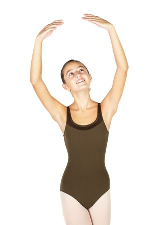 fifth: Young female ballet dancer showing various classic hand and arm positions on a white background - 5th position arm positions. NOT ISOLATED
