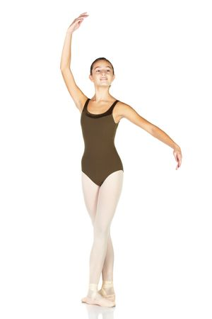 Young female ballet dancer showing various classic positions on a white background - Croise with opposite arm. NOT ISOLATED photo