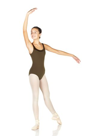 Young female ballet dancer showing various classic positions on a white background - Ecarte. NOT ISOLATED photo