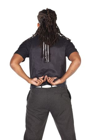dreads: Handsome African businessman with long hair in black suit on white background. NOT ISOLATED