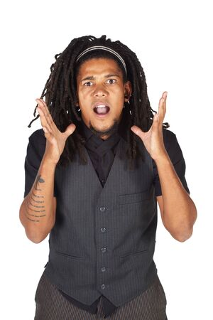 alice band: Handsome African businessman with long hair in black suit on white background. NOT ISOLATED
