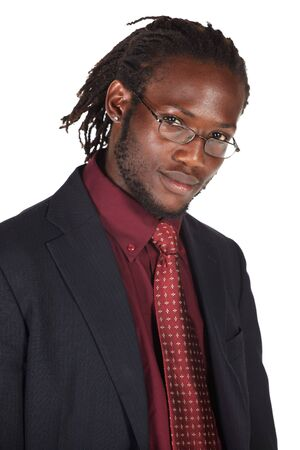 Handsome African businessman in suit wearing glasses on white background. NOT ISOLATED photo