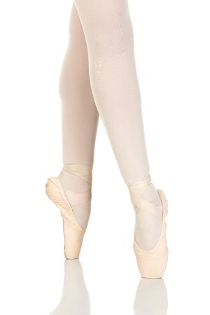 ballerina tights: Young caucasian ballerina girl on white background and reflective white floor showing various ballet steps and positions. Not Isolated