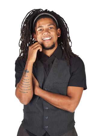 alice band: Handsome African businessman with long hair in black informal suit on white background. NOT ISOLATED