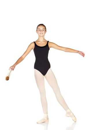 ballet bar: Young caucasian ballerina girl on white background and reflective white floor showing various ballet steps and positions. Rond de jambe. Not Isolated. Stock Photo
