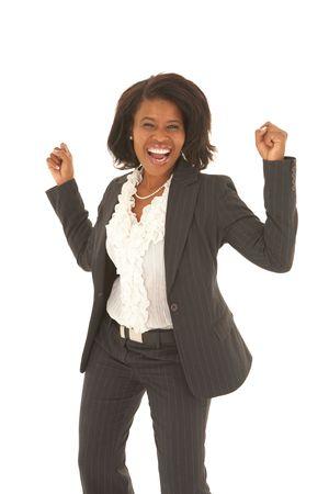 donna entusiasta: Ritratto di una giovane e bella donna d'affari africani che cercano eccitato su sfondo bianco. Non isolato Archivio Fotografico
