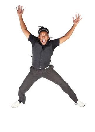 Handsome African businessman with long hair in black suit jumping and screaming on white background. NOT ISOLATED photo