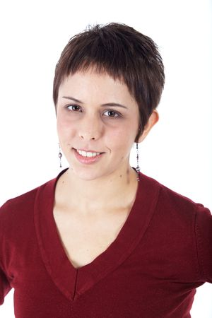 Cute young adult caucasian woman with short hair in a red top on a white background in various poses, with various facial expressions. Not Isolated