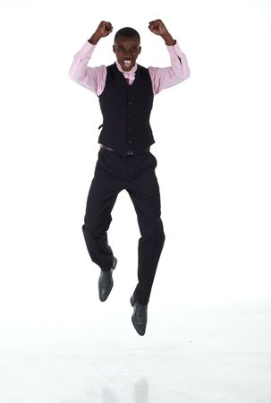Young Adult black african businessman wearing a dark smart-casual outfit without a Jacket, but with a pink shirt and a dark waistcoat, Jumping around on a white background in various poses with various facial expressions. Part of a series, Not Isolated. photo