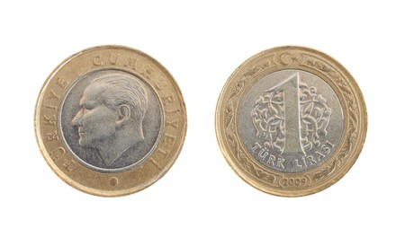 Front and Back view of a 1 Turkish Lira Coin on a white background Stock Photo