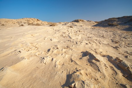 persian gulf: An eroded sandstone beach on the edge of the desert at the northern coast of Qatar in the Middle East, Persian Gulf