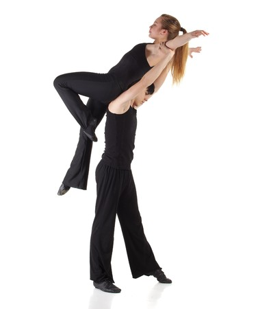 lift and carry: Young caucasian Modern Jazz dancer in a black top and black pants on a white background displaying various positions. NOT ISOLATED