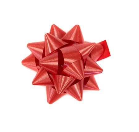 red bow: Red Christmas decoration bows on a white background Stock Photo