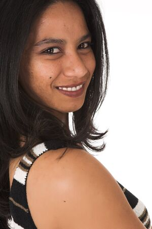 average: Young adult African-Indian businesswoman in casual office outfit with various facial expressions on a white background. Not Isolated
