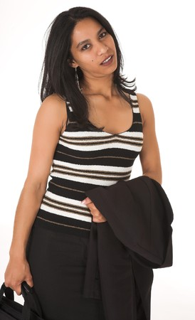 Young adult African-Indian businesswoman in casual office outfit with a black pencil skirt, a striped brown top and high heels with a briefcase on a white background. Not Isolated photo