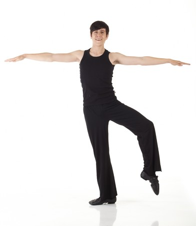 Young caucasian Modern Jazz dancer in a black top and black pants on a white background displaying various positions. NOT ISOLATED photo