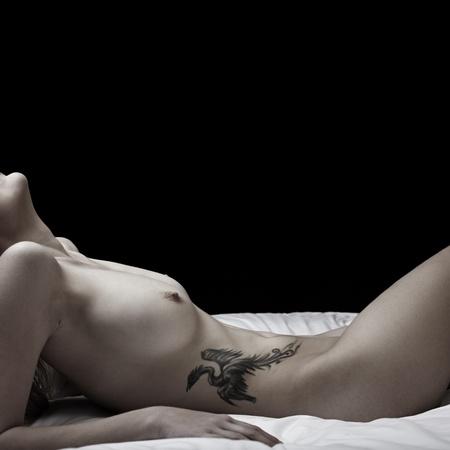 Girl with phoenix tattoo