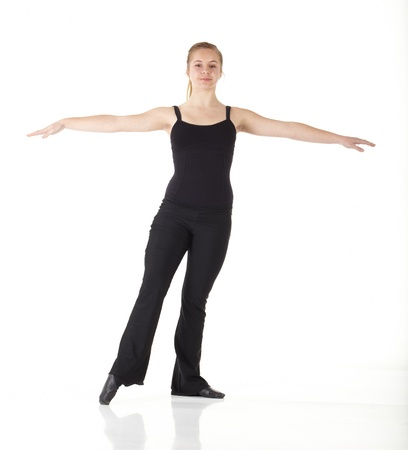 dance steps: Young caucasian Modern Jazz dancer in a black top and black pants on a white background displaying various positions. NOT ISOLATED