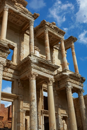 The remains and statues of the enormous Library of Celsus in the city of Ephesus in modern day Turkey photo