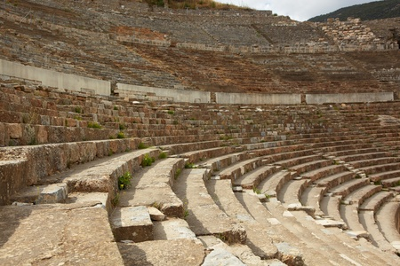 amphitheater: The remains of the large Amphitheater (Coliseum) in the city of Ephesus in modern day Turkey