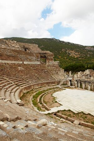 reconstructing: Reconstructing the remains of the large Amphitheater (Coliseum) in the city of Ephesus in modern day Turkey