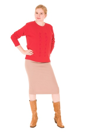 pencil skirt: Sexy young adult Caucasian businesswoman in Red top and pencil skirt on a white background. NOT ISOLATED