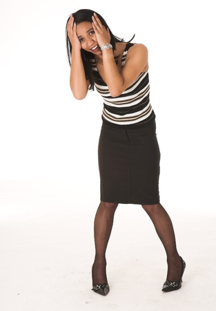 pencil skirt: Young adult African-Indian businesswoman in casual office outfit