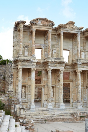 enormous: The remains and statues of the enormous Library of Celsus in the city of Ephesus in modern day Turkey