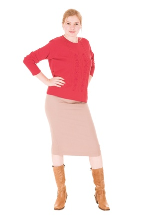 Sexy young adult Caucasian businesswoman in Red top and pencil skirt on a white background  NOT ISOLATED photo