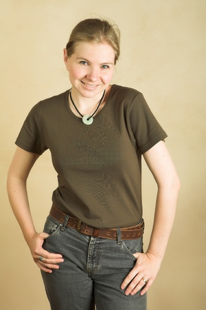 Young blonde adult caucasian woman in a t-shirt and jeans Stock Photo - 12804880