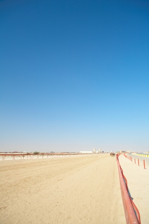 Robot controlled camel racing in the desert of Qatar, Middle East, on a sunny day  Racing camels warming up in the morning sun on the Racetrack photo