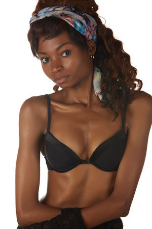 Beautiful young black african adult woman in black lingerie isolated on a white background Stock Photo - 18394529