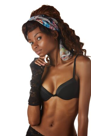Beautiful young black african adult woman in black lingerie isolated on a white background Stock Photo - 18394531