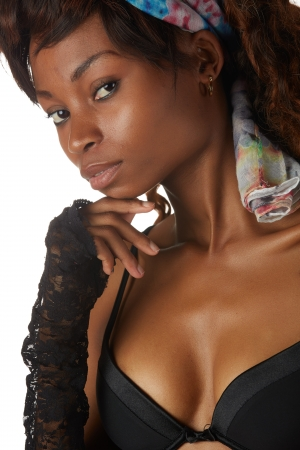 Beautiful young black african adult woman in black lingerie isolated on a white background Stock Photo - 18394547