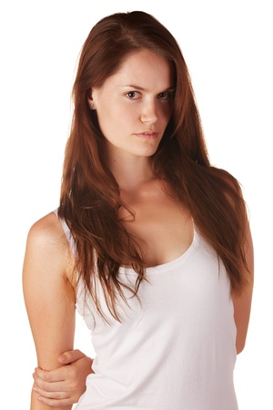 Beautiful and tall young adult caucasian woman with long brown hair, isolated on a white background with various facial expressions. Stock Photo - 18394524