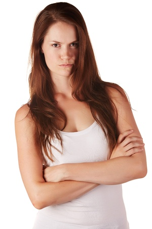 Beautiful and tall young adult caucasian woman with long brown hair, isolated on a white background with various facial expressions. Stock Photo - 18394532