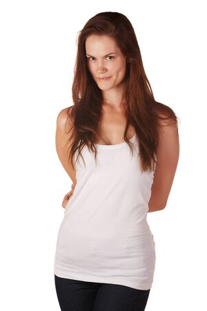Beautiful and tall young adult caucasian woman with long brown hair, isolated on a white background with various facial expressions. Stock Photo - 18394514