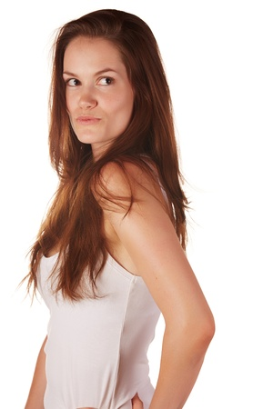 Beautiful and tall young adult caucasian woman with long brown hair, isolated on a white background with various facial expressions. Stock Photo - 18394508