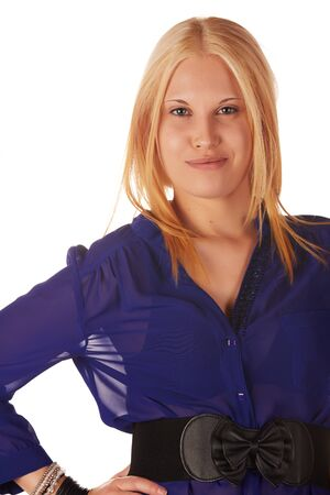 Young adult caucasian woman with honey blonde hair wearing a casual blue top on a white background with various facial expressions Stock Photo - 18394533