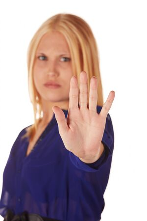 woman stop: Young adult caucasian woman with honey blonde hair wearing a casual blue top on a white background with various facial expressions Stock Photo