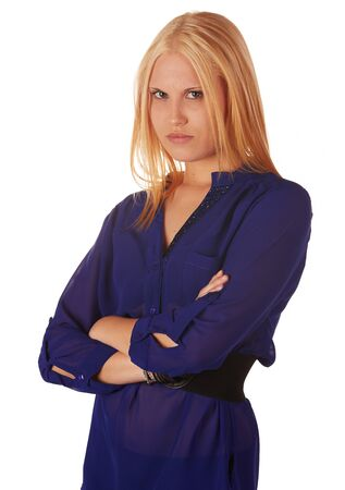 Young adult caucasian woman with honey blonde hair wearing a casual blue top on a white background with various facial expressions Stock Photo - 18394494