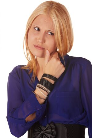 honey blonde: Young adult caucasian woman with honey blonde hair wearing a casual blue top on a white background with various facial expressions Stock Photo