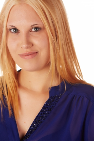 Young adult caucasian woman with honey blonde hair wearing a casual blue top on a white background with various facial expressions Stock Photo - 18394546