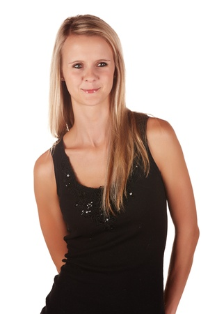 Beautiful and very sexy young adult caucasian woman in a casual black top with blonde hair and green eyes, isolated against a white background Stock Photo - 18394497