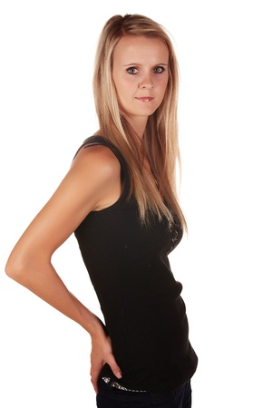 Beautiful and very sexy young adult caucasian woman in a casual black top with blonde hair and green eyes, isolated against a white background Stock Photo - 18394493