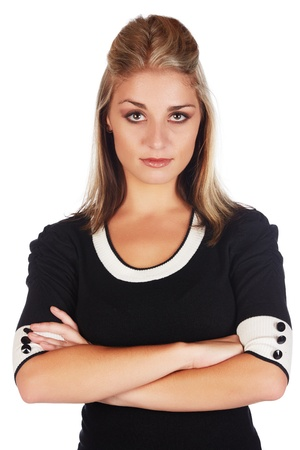 Beautiful and sexy young adult caucasian businesswoman with honey blonde hair wearing a casual white and black business outfit against a white background Stock Photo - 18659683