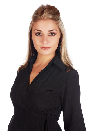 Beautiful and sexy young adult caucasian businesswoman with honey blonde hair wearing a casual black business outfit against a white background Stock Photo - 18659699