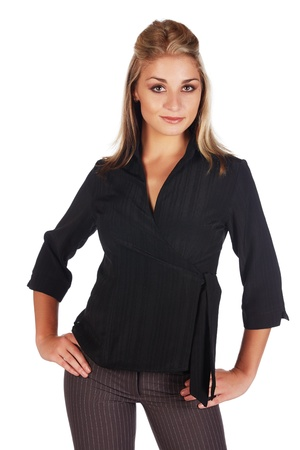 Beautiful and sexy young adult caucasian businesswoman with honey blonde hair wearing a casual black business outfit against a white background Stock Photo - 18659650