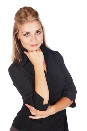 honey blonde: Beautiful and sexy young adult caucasian businesswoman with honey blonde hair wearing a casual black business outfit against a white background
