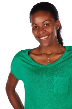 slicked: Beautiful black african young adult woman casually dressed in an emerald green t-shirt with her hair slicked back into a ponytail and isolated on a white background